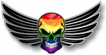 GOTHIC SKULL With Wings Motif  &  Gay Pride LGBT Rainbow Flag External Vinyl Car Sticker 150x80mm